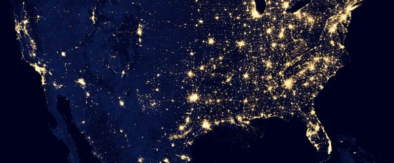 City Lights of the United States 2012, NASA Earth Observatory image by Robert Simmon, http://earthobservatory.nasa.gov