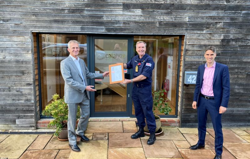 The Royal Navy's First Sea Lord presents Bob Kitchen and Kevin Bossley with Catalyze's Defence Employer Recognition Bronze Award
